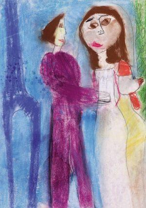 """Agatka Konieczka, 8 lat, Marc Chagall """"Narzeczeni z Wieżą Eiffla"""""""