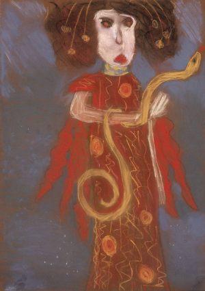 """Ania Strosznajder, 10 lat, Gustaw Klimt """"Medizin (Hygieia)"""""""