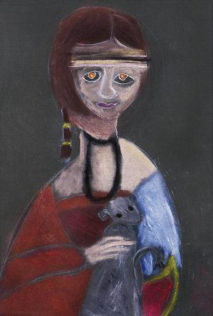 """Zuzia Szymanek, 9 lat, Leonado da Vinci """"Dama z łasiczką"""""""